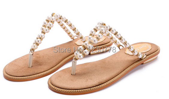 ddd3884b53a5 women slippers 2014 summer new beauty design flip flops with string bead  plus size 41 42 43 small size34 wholesale free shipping
