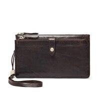 Brand Top Quality Genuine leather long men wallet male zipper purse clutch bag vintage multifunctional money bag wrist strap