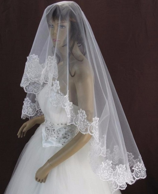 White or Red Cheap Short Wedding Veil Lace Bride Bridal Veil voile mariage veu noiva