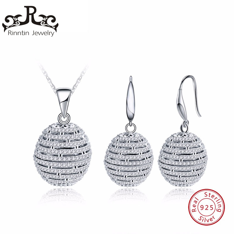 Rinntin 925 Sterling Silver Women Necklace&Earrings Sets Ball Shape Hollow Design With CZ Cubic Zircon Female Jewelry Set TSS20 delicate faux pearl hollow out ball shape necklace for women