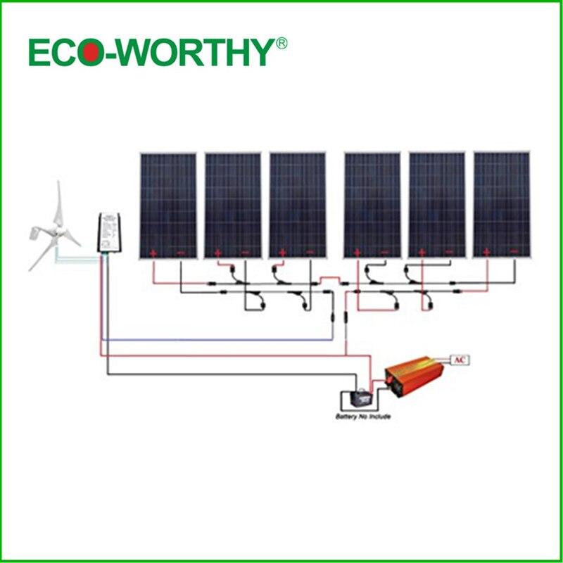 ECO-WORTHY USA UK Stock400W Wind Turbine & 6*160W Solar Panel & 1500W Inverter & 20A Charge Controller dc house usa uk stock 880w hybrid kit 400w wind turbine generator
