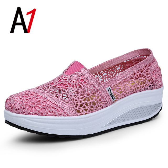 Listed on the new hollow out breathable women casual shoes wedges walking shoes fashion platform soprt shoes women fine cheap