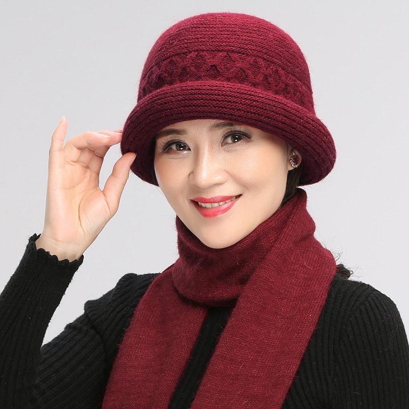 Autumn Winter Middle Aged Elderly Hat Women Mother Grandmother Rabbit Wool Warm Cap Female Soft Fashion Pure Color Scarf H7172