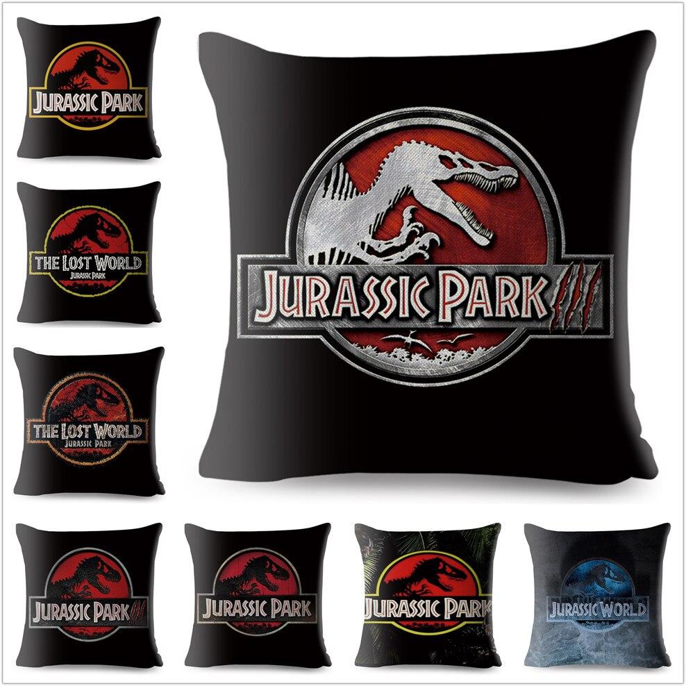 Jurassic Park Dinosaur Pattern Cushion Cover Linen Pillow