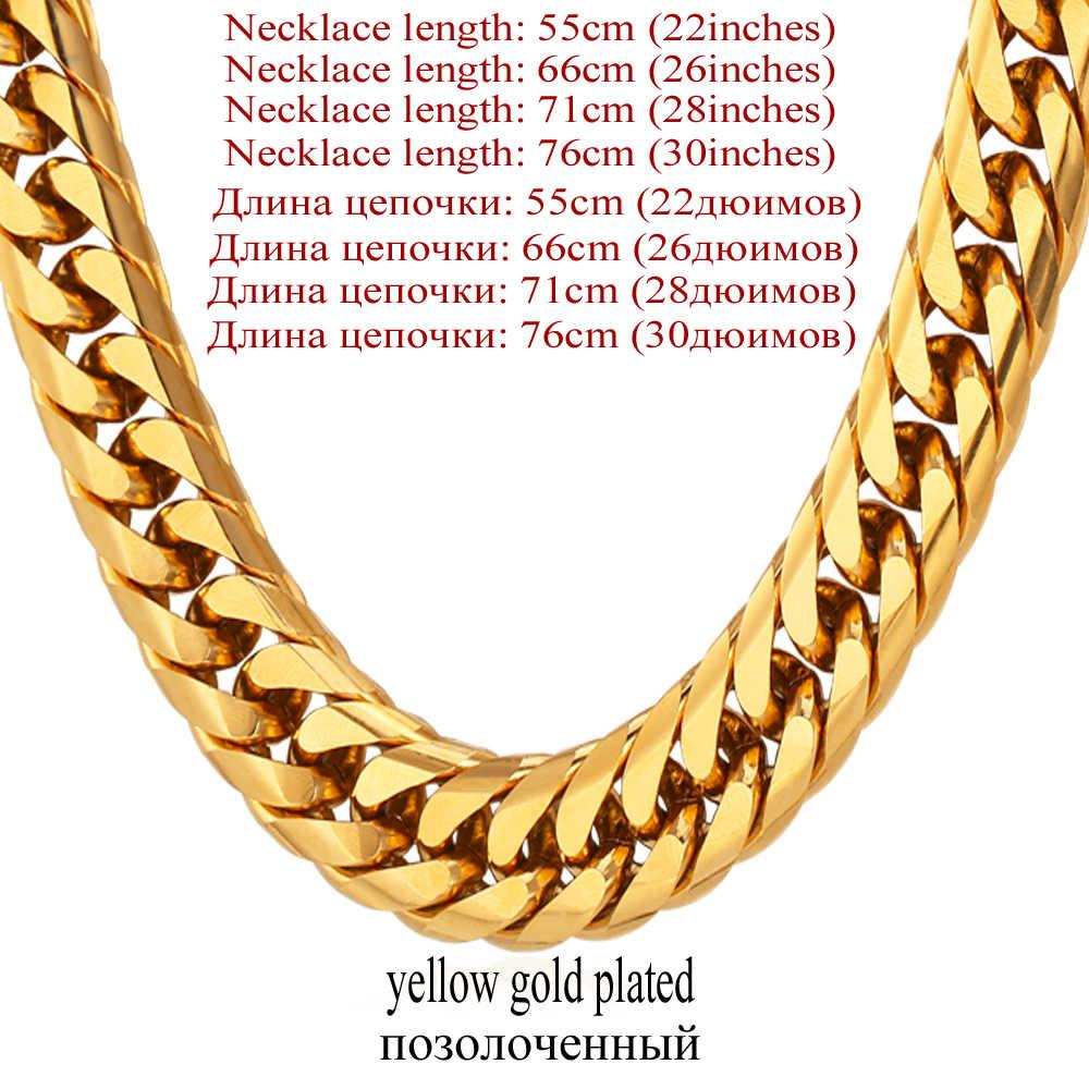 Collare Miami kubański Link łańcucha mężczyzn 316L naszyjnik ze stali nierdzewnej srebrny złoto czarne płaskie grube Hip Hop biżuteria mężczyźni moda n115