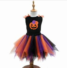 Retail 2017 New Halloween Girls Clothing Sets Vest+Fluffy Tutu Skirt Two Piece Fashion Outfits Children Clothing 2-7T E7671