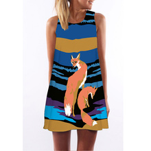 2016 women dress self portrait dress Cute fox Digital Printing dresses female  loose-fitting Vestidos ethnic dress