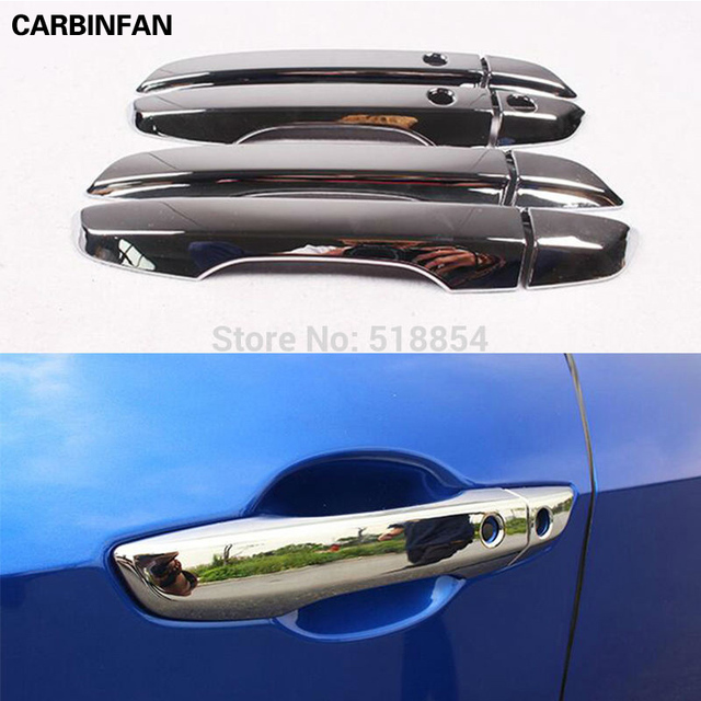 FOR 2016 2017 HONDA CIVIC CHROME DOOR SIDE HANDLE COVER CAP CATCH WITH SMART KEY HOLE & FOR 2016 2017 HONDA CIVIC CHROME DOOR SIDE HANDLE COVER CAP CATCH ...