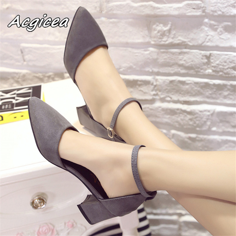 2019 New Sandals Female Summer With A Word Buckle Wild High-heeled Shoes Pointed Thick With  Single Shoe Mujer  S050