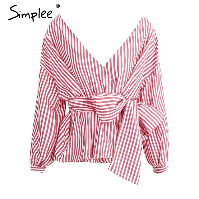 Simplee V neck lace up striped cool blouse shirt women Sexy loose long sleeve summer tops Casual bow chemise blusas