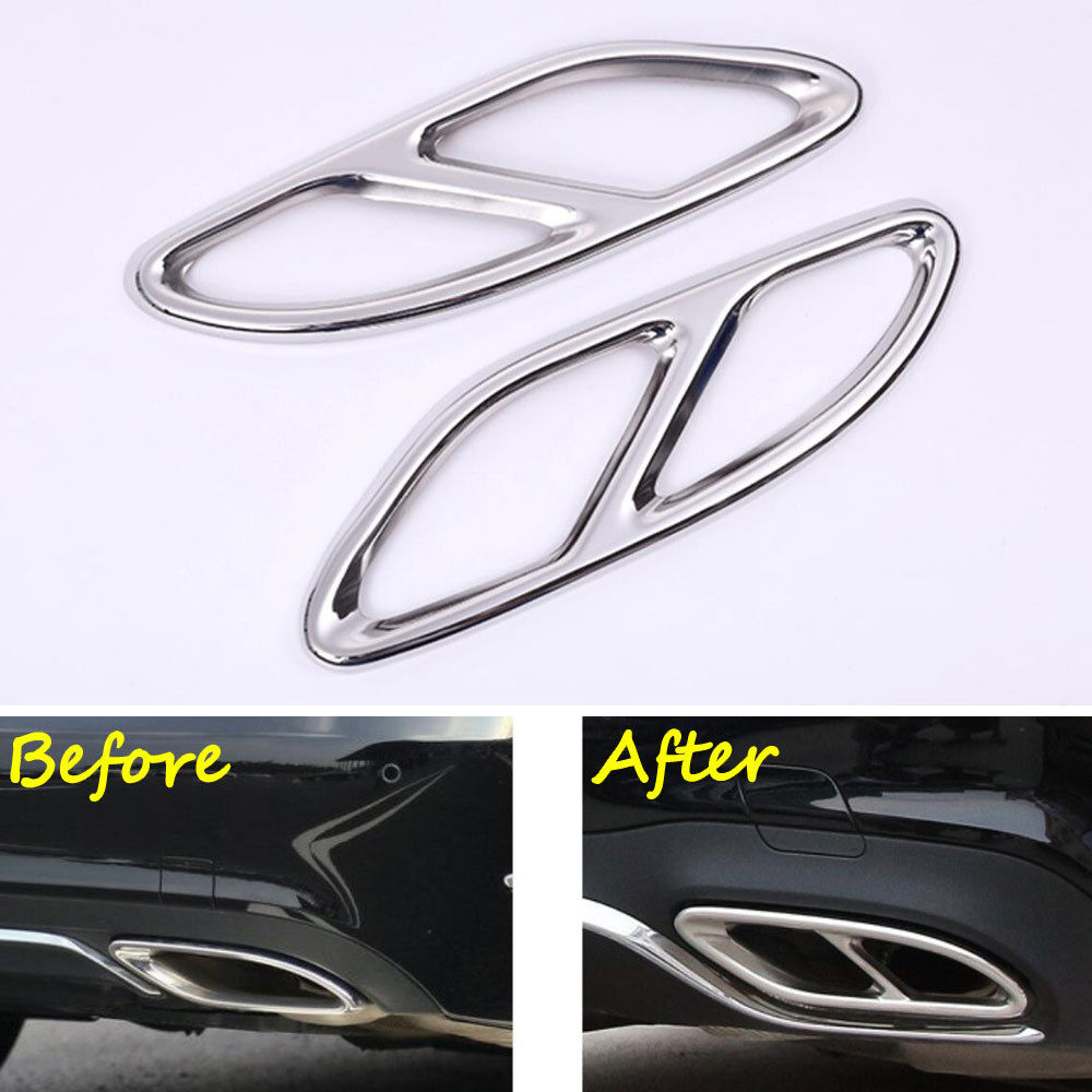 BBQ@FUKA 2pcs Stainless Steel Car Rear Bumper Exhaust Tail Pipe Muffler Cover Trim car styling For Benz E Class 2014-2016 steel tail pipe exhaust pipe cover 2pcs for mazda 3 axela m3 2014 2016 hatchback