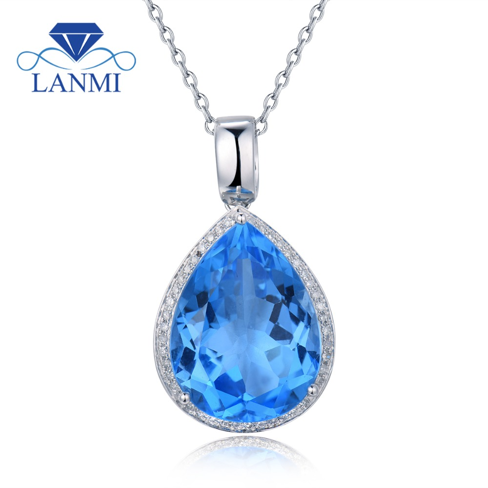 Vintage Pear 10x15mm Solid 14Kt White Gold  Blue Topaz Pendant For Women Jewelry Gift CF001Vintage Pear 10x15mm Solid 14Kt White Gold  Blue Topaz Pendant For Women Jewelry Gift CF001