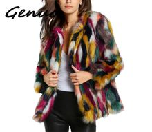 Winter color fur coats Women Elegant Fur Coats Colorful Faux Coat Brand fashionLong Sleeve  Collarless Casual Woman coat