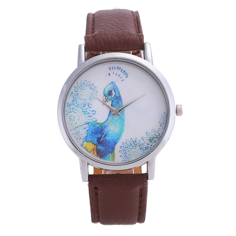 Brand Women's Watches Quartz Watch Simple Style Blue Peacock Icon Digital Pointer Mirror Fashion Leather Watch  Dial