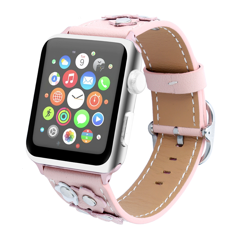 FOHUAS Genuine Leather Loop For Apple Watch 5 Band 44mm 42mm Iwatch Nail Flower Strap 38mm Women Bracelet With Adapter Connector
