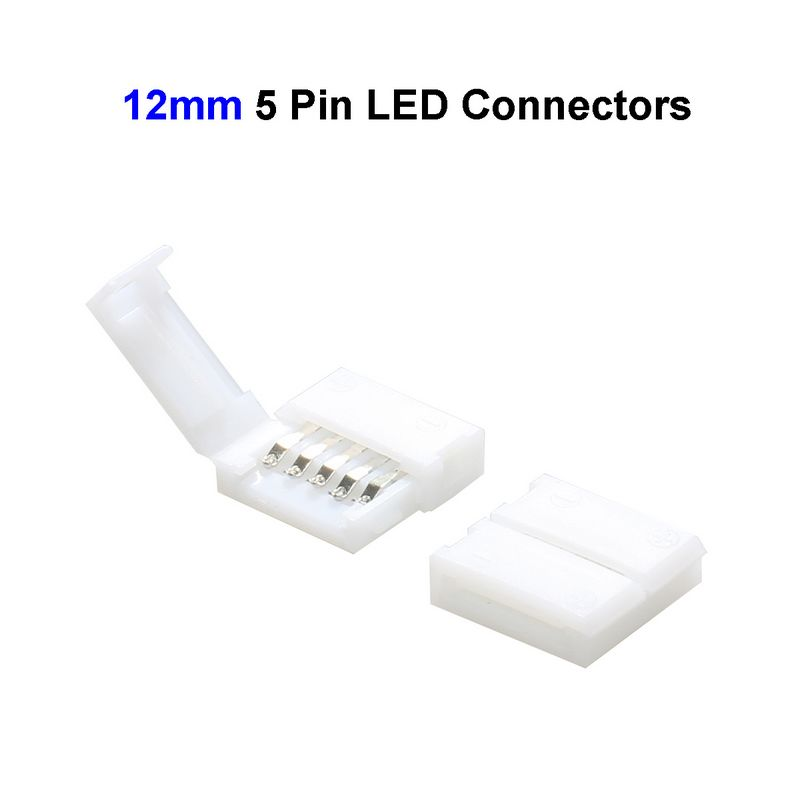 10pcs 10mm 5 Pin RGBW LED Strip Connector Adapter L Shape For SMD 5050 RGBW LED Strip Lights No Soldering new 5pcs 2pin 3pin 4pin led connector l t x shape fpc adapter free welding for 8mm 10mm 3528 2812 5050 rgb light strip