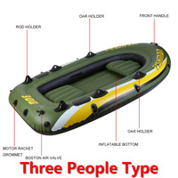 Rubber Boat Kit PVC Inflatable Fishing Drifting Rescue Raft Boat Life Jacket Two Way Electric Pump Air Pump Paddles