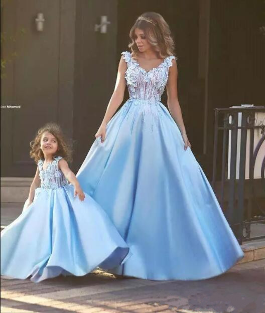 Vintage Light Blue A Line Flower Dresses For Weddings Mother And Daughter