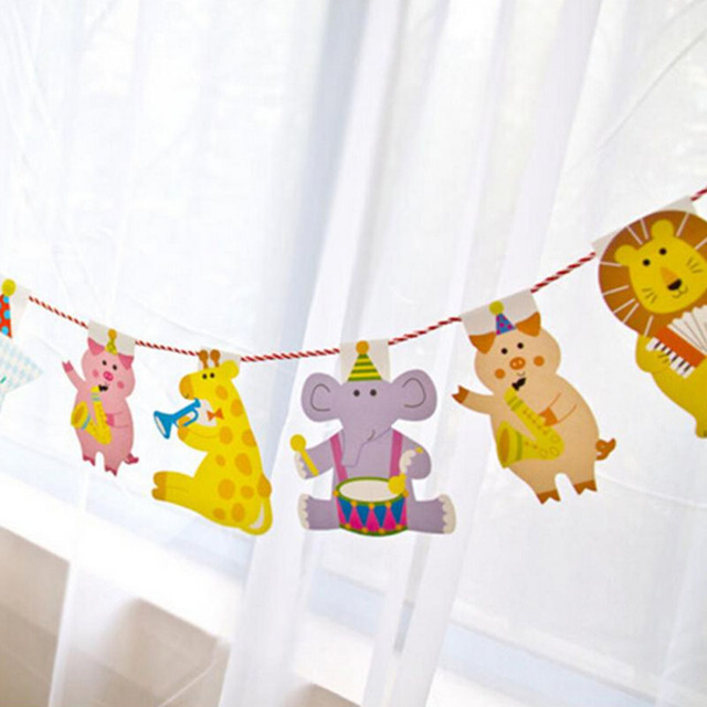 2M Cartoon Animal Birthday Decor Banner Kids Big Happy Family Baby ...