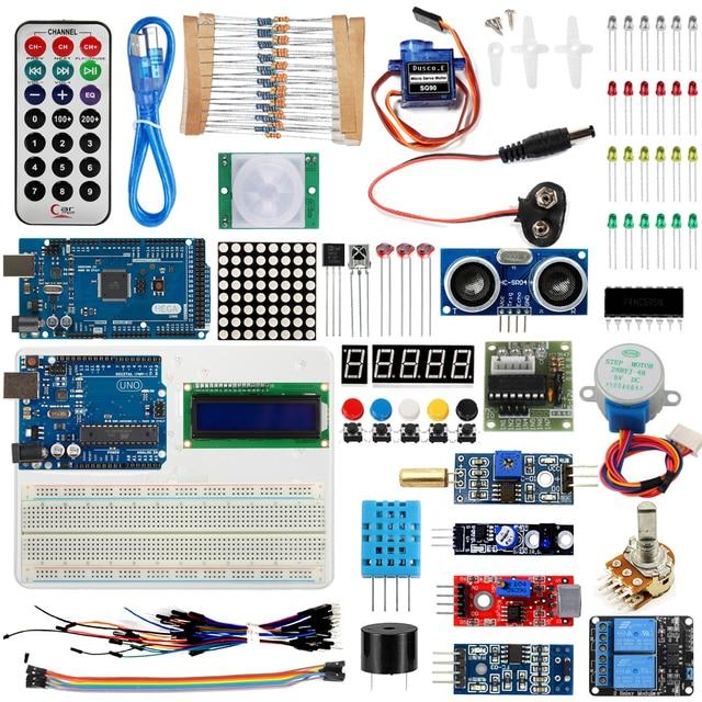خصم كبير كاتب عدة لاردوينو UNO R3 و Mega2560 مجلس MB102 اللوح 1602 LCD محرك معزز التتابع التعلم الأساسية