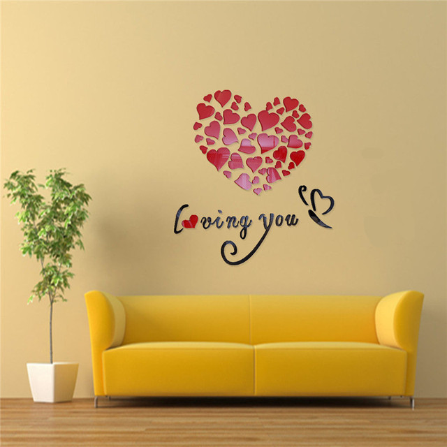 3D Love Mirror Hearts Wall Stickers TV Setting For DIY Decal Art ...