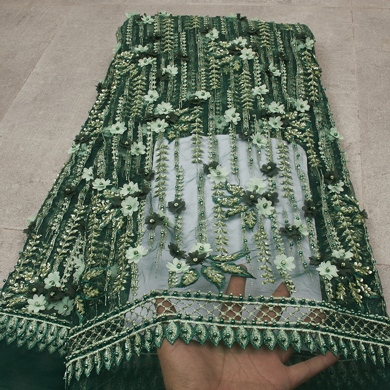Nigeria Handmade Pearls Lace Fabric Green African Tulle Lace Luxury Mariage Mesh Lace MR2585B