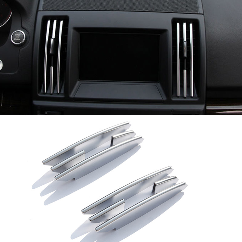 8pcs Chrome Interior Center Air Conditioning Vent Outlet Strips Trim For Land Rover Freelander 2 2008-2015 Accessory Car Styling цена