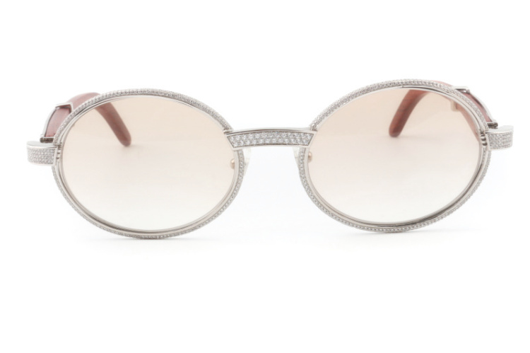 Cartier 55-22 Full Diamond Red Wood Silver Frame Brown Round Lens (2)