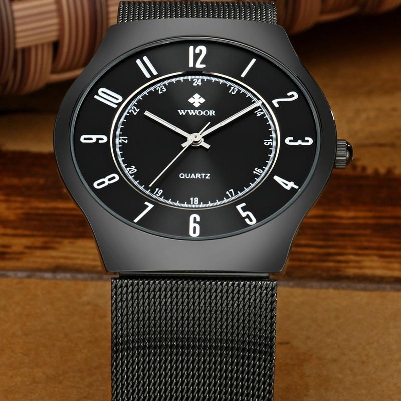 Image 3 - WWOOR Top Brand Luxury Men Ultra Thin Waterproof Sports Watches Men's Quartz Wrist Watch Male Slim Black Clock relogio masculino-in Quartz Watches from Watches