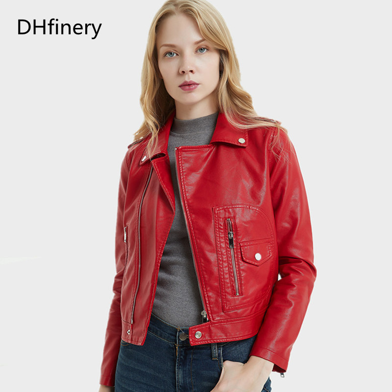 DHfinery   Leather   Jacket Women 2019 Spring Autumn Short Slim PU Lapel   Leather   Motorcycle   Leather   Jacket P-17-31