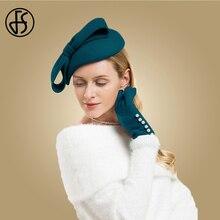 FS Winter Wool Fascinator Pillbox Hat Elegant Women Wedding Hats Black Blue Red Lady Bowknot Kentuck
