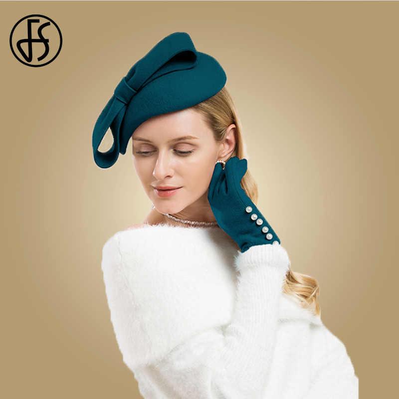 be7a65671e674 FS Winter Wool Fascinator Pillbox Hat Elegant Women Wedding Hats Black Blue  Red Lady Bowknot Kentucky