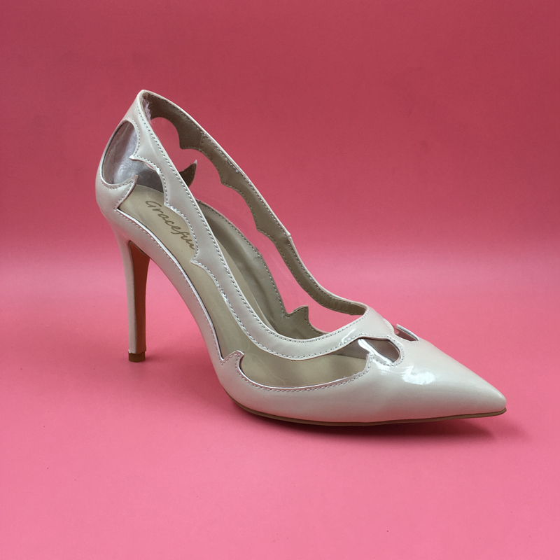 01fc9495ed8c4 Nude Patent Leather Pointed Toe Women Pumps Clear PVC Plastic OL Sexy Women  Shoes High Heel