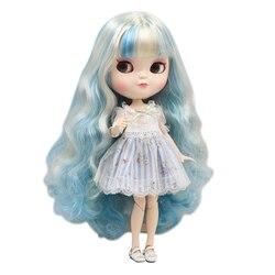 Gelo fortuna dias fábrica boneca azone corpo comum 30cm pele branca fantasia azul misturado cachos de ouro diy sd presente brinquedo