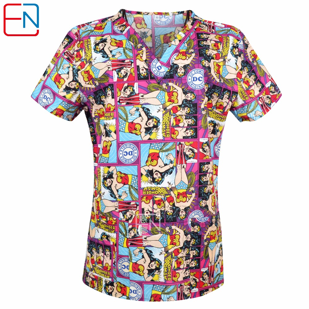 Brand Medical Scrub Tops For Women Surgical Scrubs,scrub Uniform In 100% Print Cotton Christmas Series