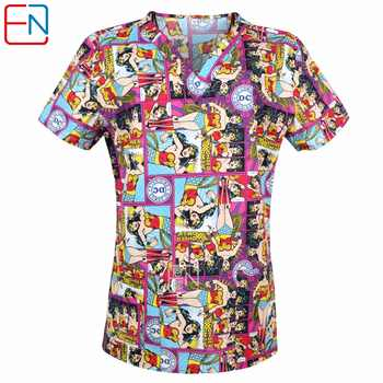 Brand medical scrub tops for women surgical scrubs,scrub uniform in 100% print cotton Christmas series - DISCOUNT ITEM  0% OFF All Category
