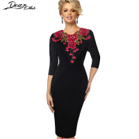 Women Stylish Elegant Embroidery Applique Crochet Work Office Bodycon Dress Female Sheath Party Prom Cocktail Vintage Dress