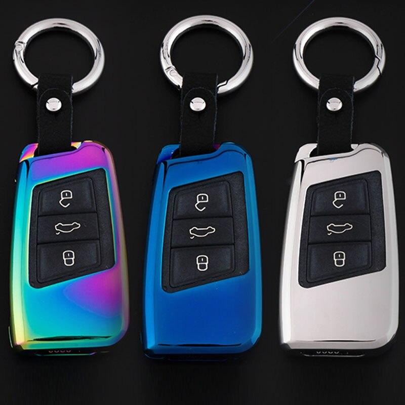 Zinc Alloy Car Key Case Cover Keychain Key Ring Key Shell For Volkswagen Alltrack Magotan Multivan Phaeton Tiguan Touareg