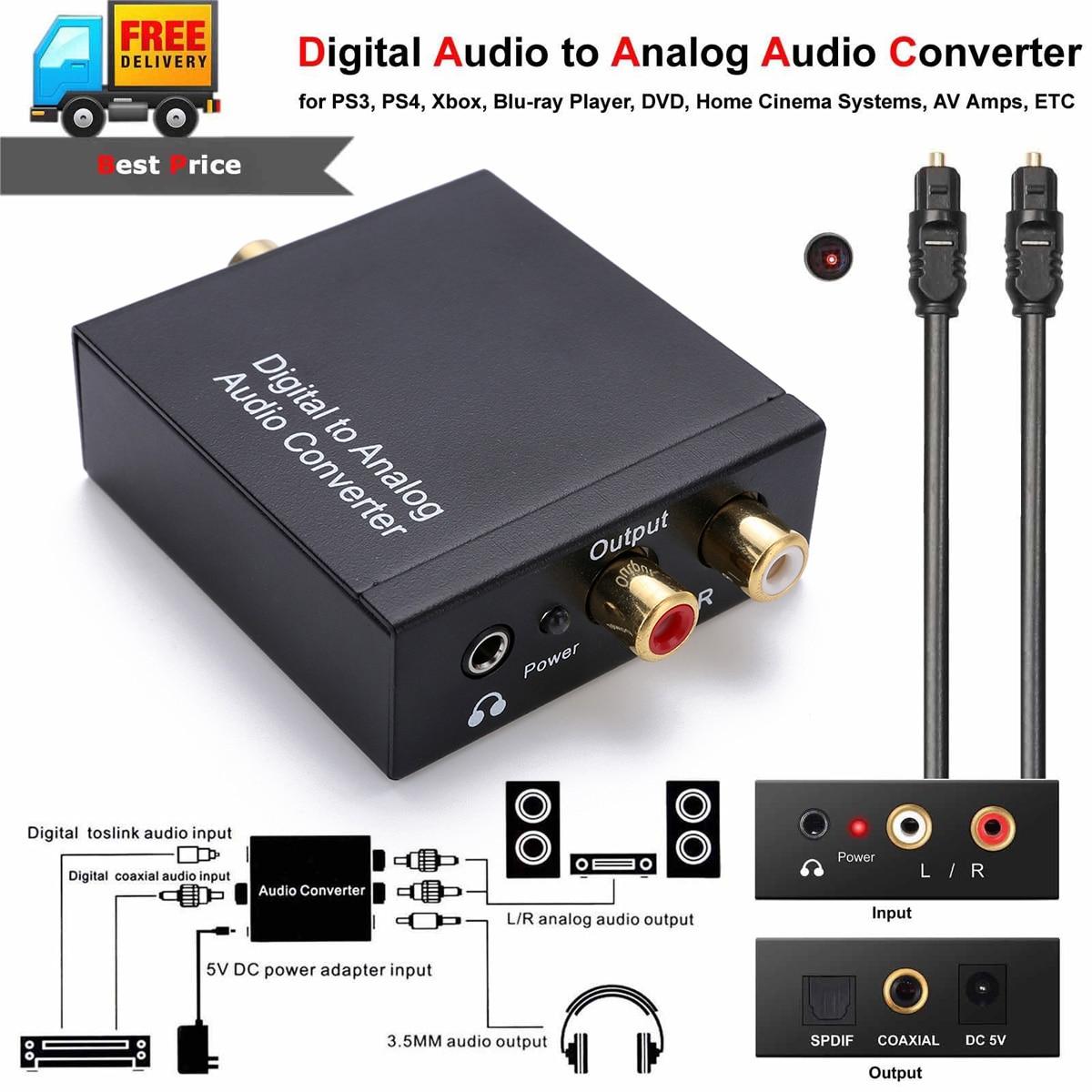 1 mt Optical Coaxial Toslink Kabel Digital Analog Audiokonverter Adapter Mit AUX 3,5mm Jack
