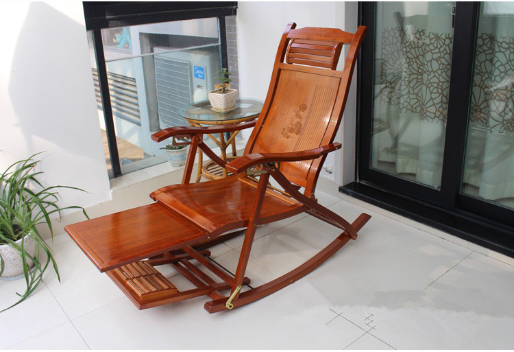 Folding Rocking Chair Armchair W/Footrest&Massage Mahogany Finish Foldable Rocker Outdoor Patio Furniture Bamboo Chair Recliner infant vibrant cradle recliner rocking chair comfort chair portable foldable recliner rocker rocking chair