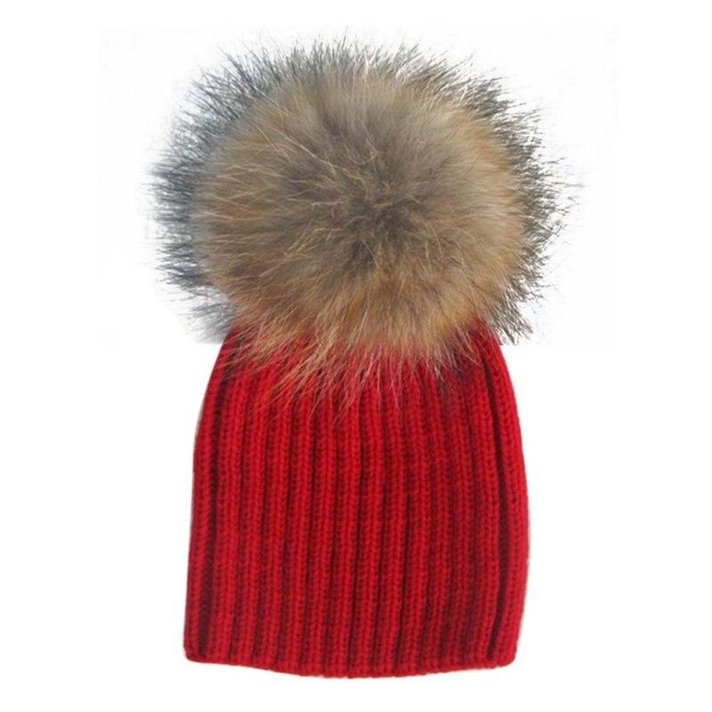 Kawaii Baby Hat Winter Hats kids Beanie Raccoon Fur Pom Bobble Woolen Hat Kids Warm Crochet Hat