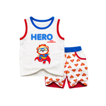 hot deal buy summer 2019 latest kids boys clothes set cartoon super pattern toddler boys clothing sets fashion children clothing
