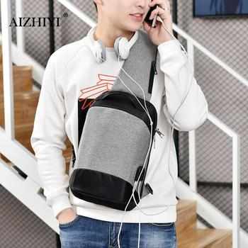 Men Anti-Theft Sling Bag Canvas USB Soft Crossbody Bag for Men Chest Shoulder Bag Hidden Pack Retro Vertical Square Phone Bag
