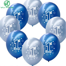 10pcs 12 Inches Round Latex Number Balloons for Boys Baby Girls Baby 1 Year Old First Birthday Celebration Kids Gift Toys
