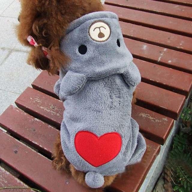 New Warm Fleece Pet Coat Winter Dog Clothes Cute Puppy Bear Costume Hoodie Jumpsuit Clothing for Small Dogs Teddy Apparel