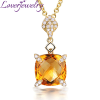 Free Shipping Real 18K Yellow Gold Cushion Citrine Pendant Necklace Wholesale Fine Jewelry For Women Anniversary Gift