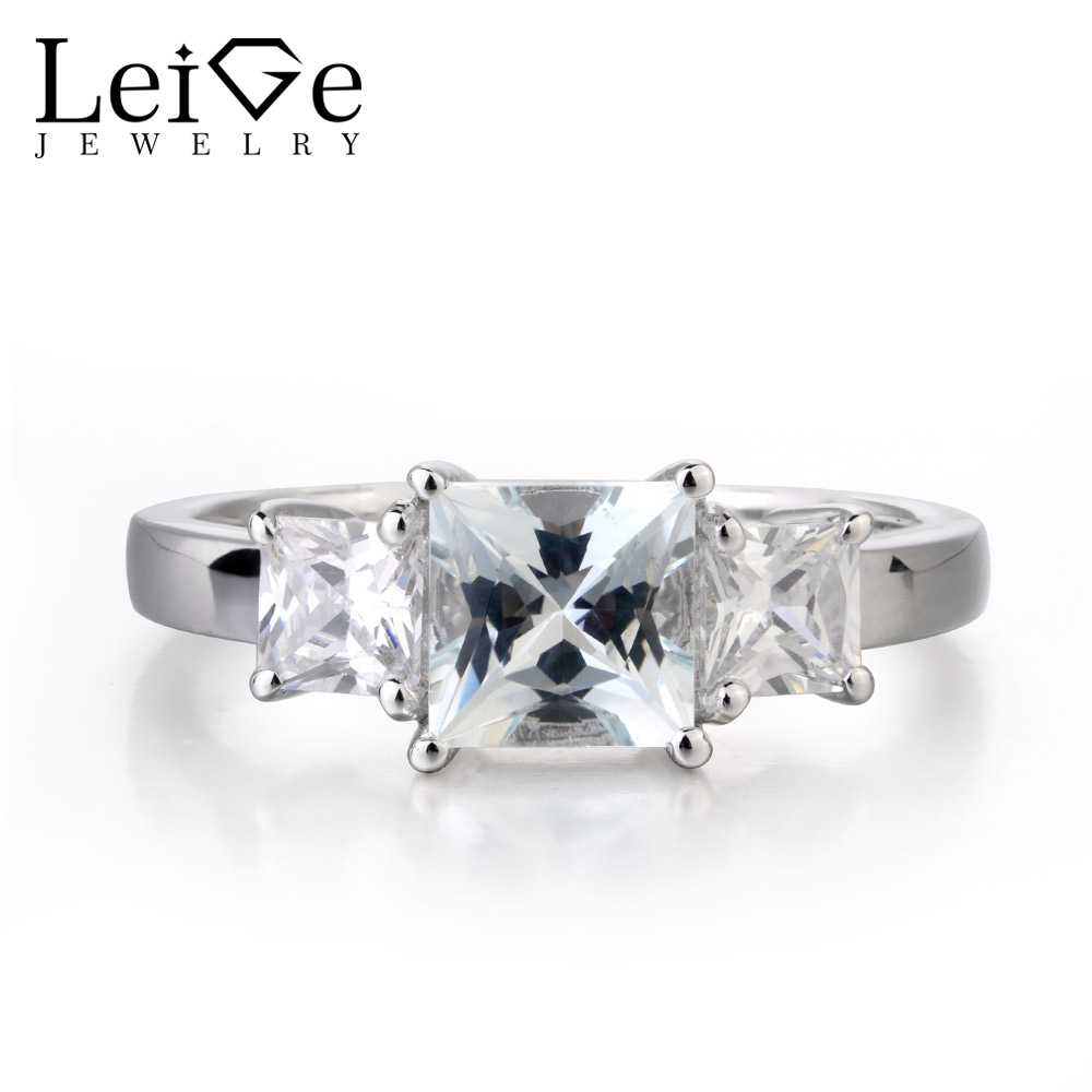 Leige Jewelry Square Cut Natural Aquamarine Engagement Ring Sterling Silver 925 for Women Wedding Promise Rings Romantic gift