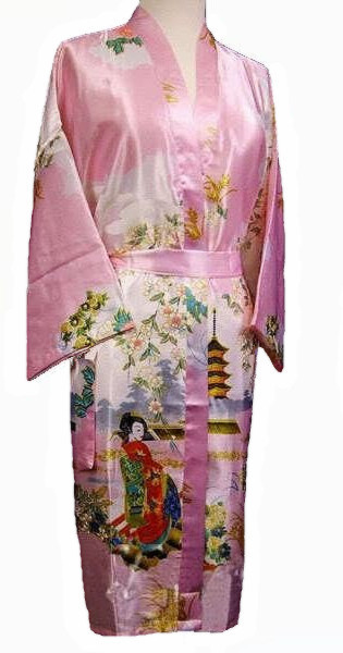 Rosa estilo chinês Robe de seda camisola salão de verão Sleepwear Sexy Kimono Yukata S M L XL XXL XXXL WS09-F