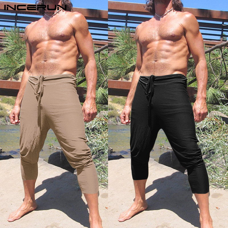 Summer Solid Color Men Casual Pants Polyester Calf Length Slim Fitness Joggers Drawstring Trouser Big Size Khaki S-5XL INCERUN