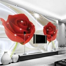 Wholesale Romantic Red Rose Flower Wallpaper